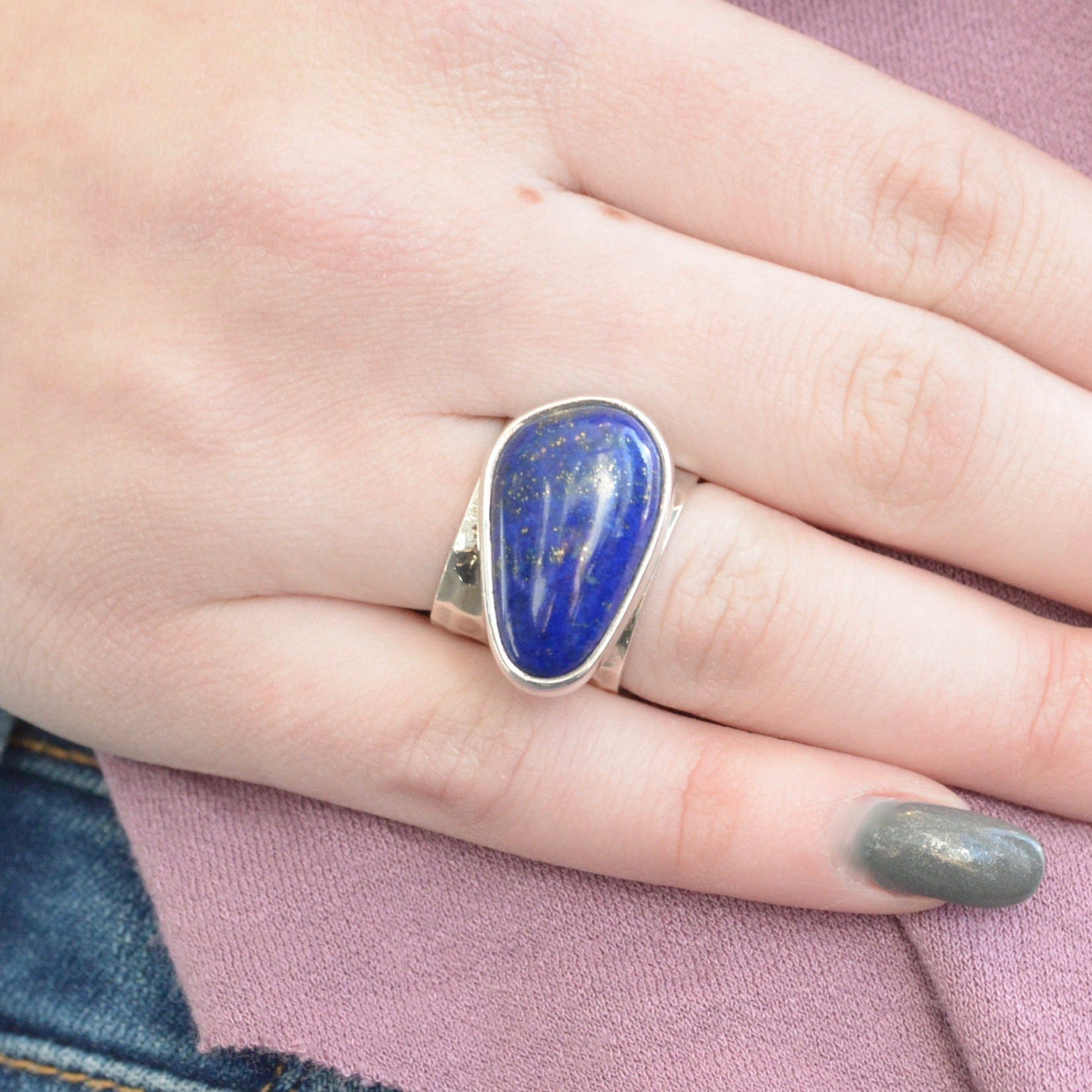 Side Set Freeform Lapis Lazuli Ring // Lapis Lazuli Jewelry //