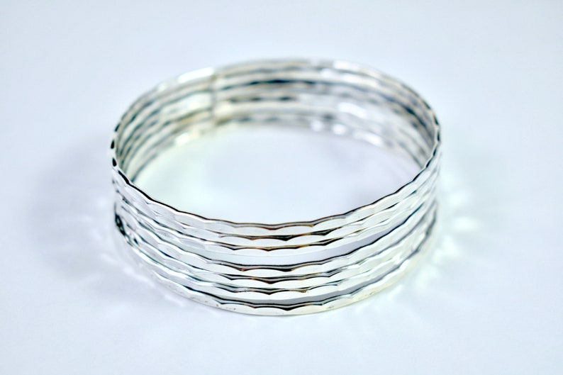 Seven Layered Bangle Bracelet  Sterling Silver Bangle  Sterling Silver  Cuff Bracelet  Village Silversmith