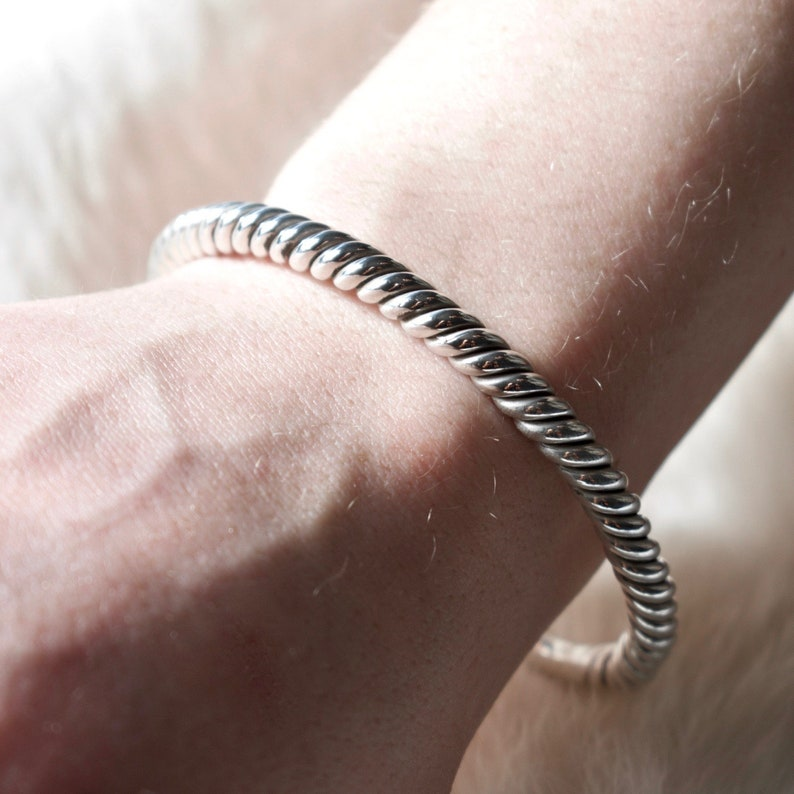 Silver Rope Cuff Bracelet  Sterling Silver  Cuff Bracelet  Village Silversmith
