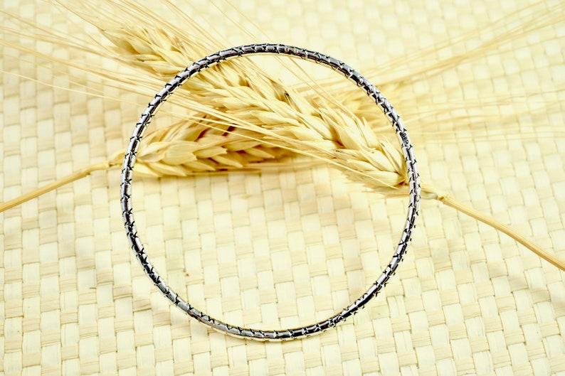 X Marks The Spot Bangle Bracelet  Sterling Silver Bangle  Sterling Silver  Silver Bracelet  Village Silversmith
