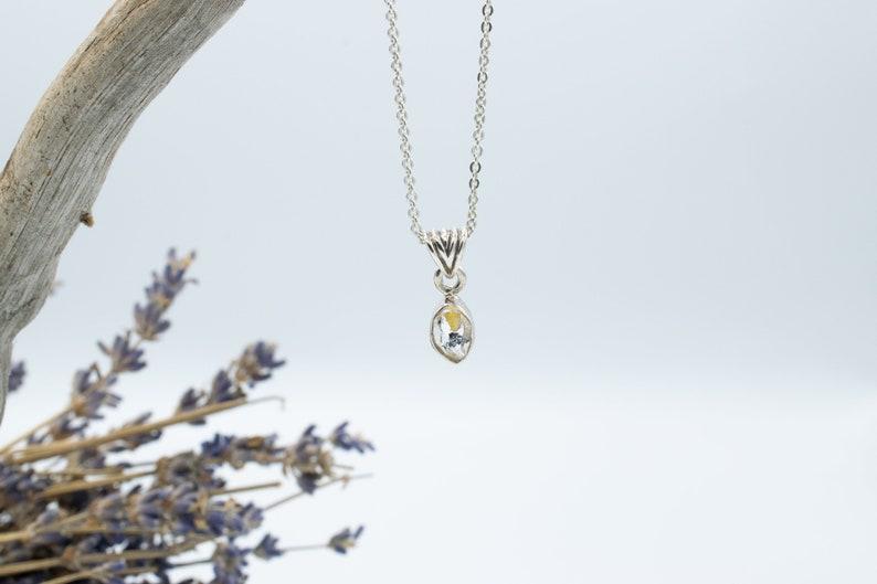 Small Herkimer Diamond Pendant With Ripple BailHerkimer Jewelry  Sterling Silver  Village Silversmith
