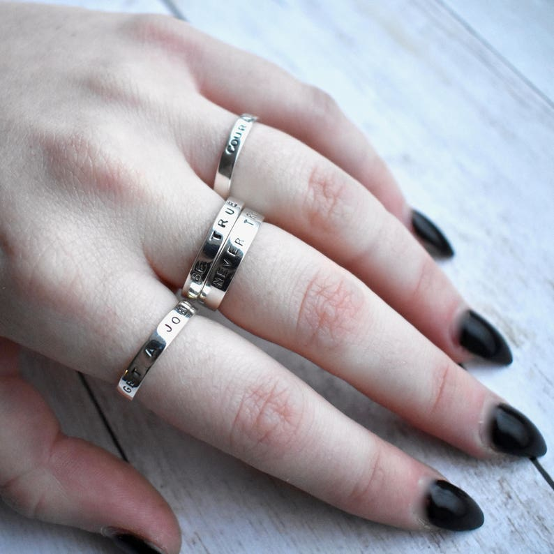 Babson Boulders Get A Job Stacking Ring  Sterling Silver Ring  Stacking Ring  Sterling Silver  Village Silversmith