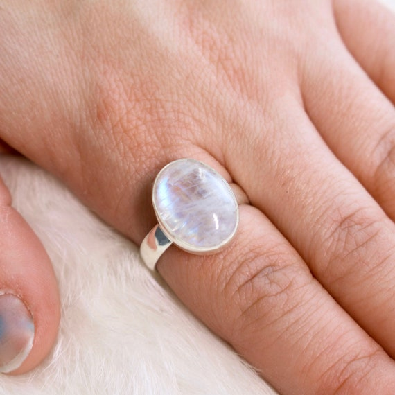Moonstone Ring  Moonstone Jewelry  Sterling Silver  Village Silversmith