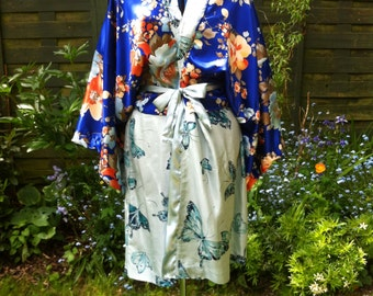 Oriental Kimono Dressing Gown Robe in Blues with Orange Blossems and Butterflies, Handmade with Vintage Silk Fabrics, Unique