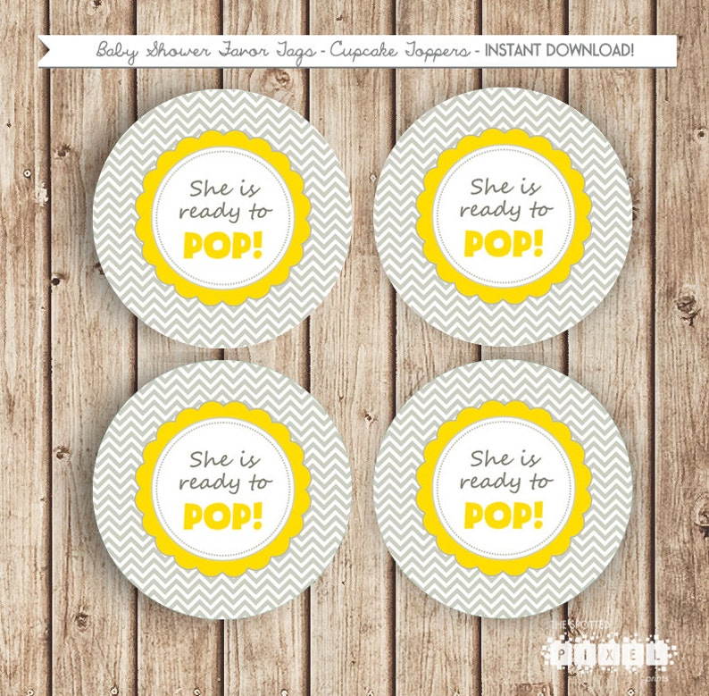 She S Ready To Pop Party Chevron Yellow Grey Favor Tags Etsy
