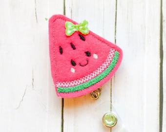Cute Sun Watermelon Summer Felt Badge - Badge Holder - Felt Badge Reel - Unique Retractable ID Badge Holder - Lanyard - Professional Peds RN