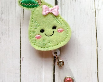 Cute Pear w /Bow Felt Name Badge - Name Badge Holder - Badge Reel - Unique Retractable ID Badge Holder - Felt Badge Reel
