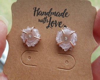 Rose Gold Filled Pink Amethyst Stalactite Earrings