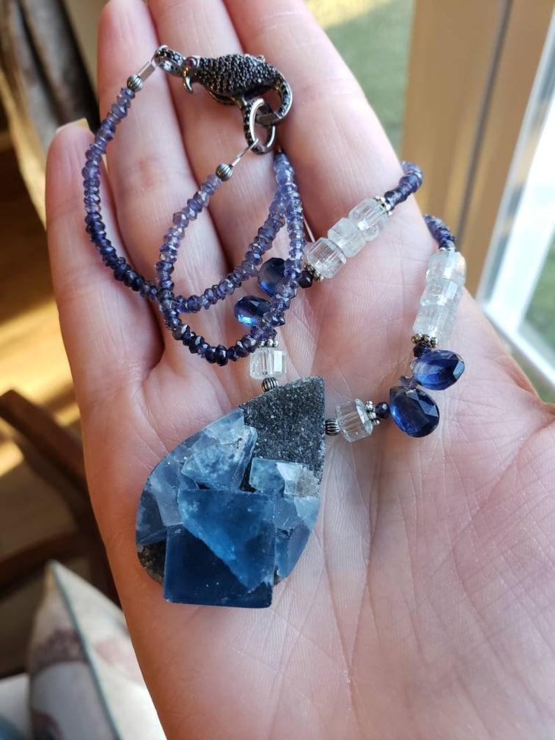 Iolite Color Changing PurpleBlue Flourite Drusy Aquamarine and Kyanite Necklace Amrin