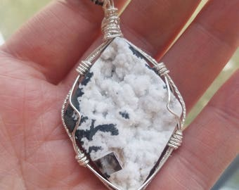 White Chalcedony Drusy Sterling Silver Wirewrapped Pendant and Oxidized SS chain