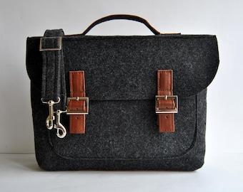 "Sale !!! Felt leather laptop bag 13"" with leather briefcase 13 MacBook Pro laptop urban felt bag Gift for him Laptop Leather Felt laptop bag"