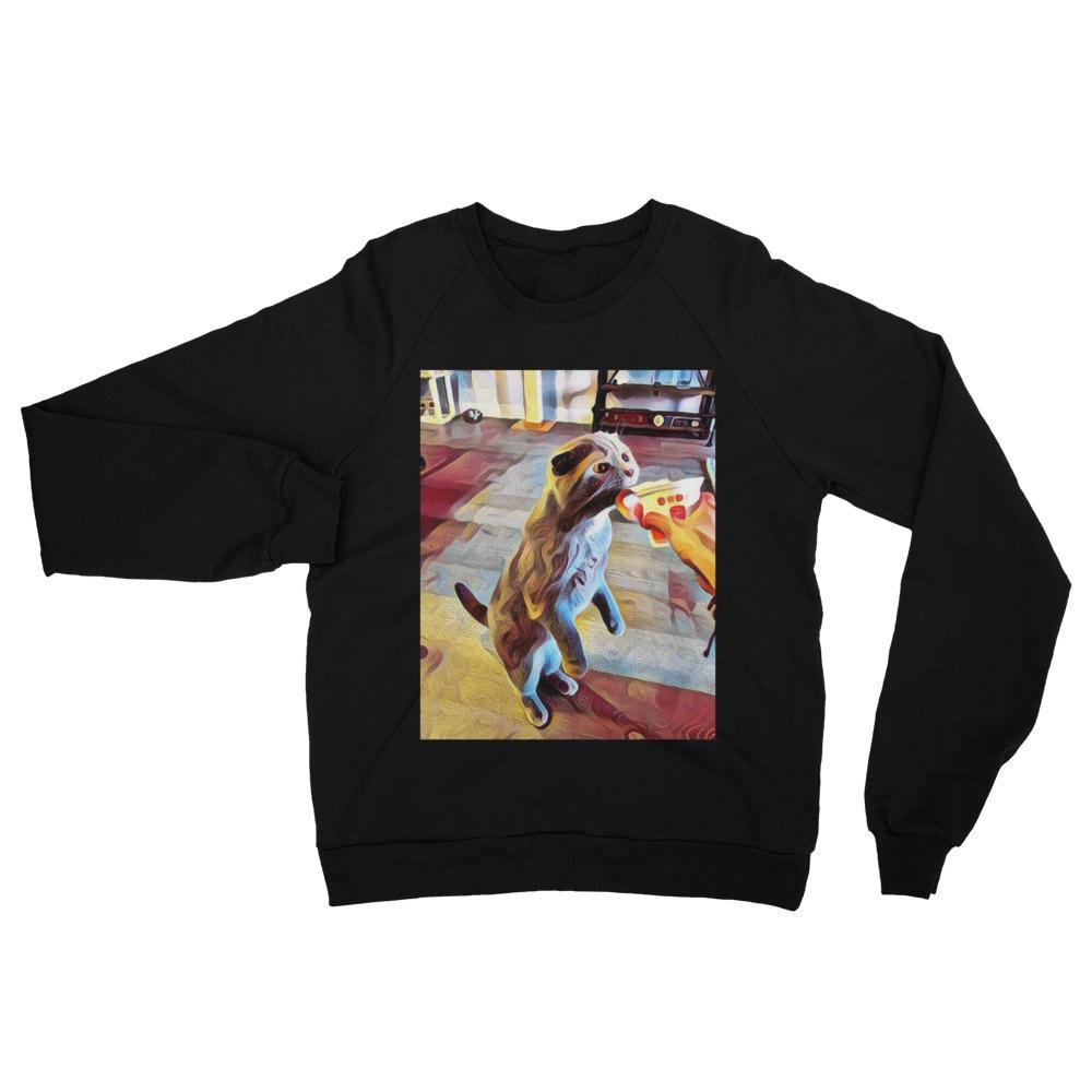 Artsy unisexe gamme haut de gamme unisexe Californie polaire chat Raglan Sweatshirt Sweatshirt/patte-quelques/Crazy Cat personne/chat amoureux des chats-pull/cadeau e07136