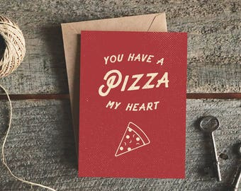 Pizza Card Cards For Boyfriend Funny Valentines Day I Love You Best Friend Girlfriend Lover
