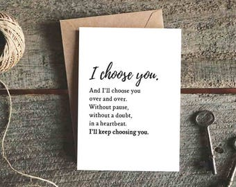 wedding card for husband wedding day card valentines day card for wife anniversary card for him i choose you and ill choose you card
