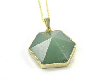 Green gem necklace | Etsy