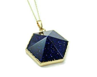 Stone pendant etsy blue stone pendant blue goldstone necklace raw gemstone pendant gift for wife birthday gift womens necklace wife gift blue sandstone aloadofball Images