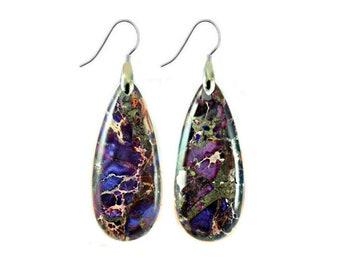 Sterling Silver Earrings, Boho Earrings, Drop Earrings, Hippie Jewelry, Purple Stone Earrings, Dangle Earrings, Cousin Gift, Teardrop Shape