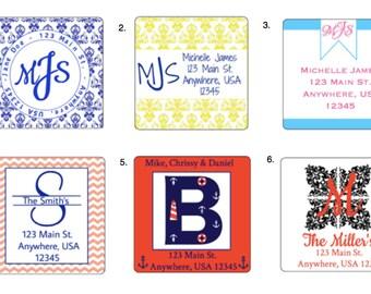 24 Personalized Address Labels / Favors/ Envelope Seal / Chevron / Nautical / Damask /  Monogram