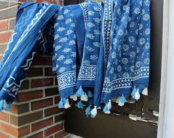 9ae7a879aa Indigo blue and white block print cotton sarong - (W) beach wrap scarf -  blue cotton scarves with tassels - swim suit cover up - pareo