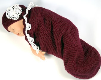 Baby cocoon with cap, claret, baby cocoon with lace, newborn cocoon, infant cocoon, neonatal outfit, babies first photo shoot