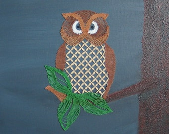Lace-making instruction owl for immediate download,