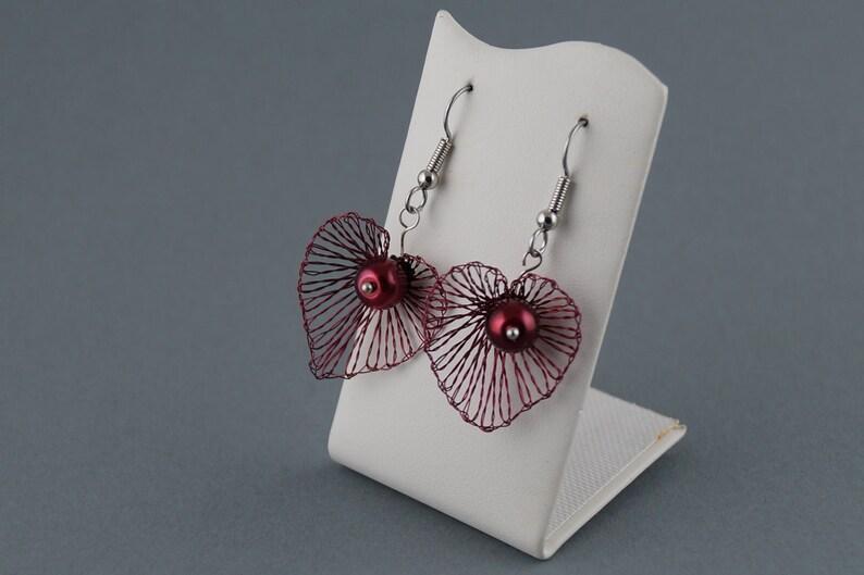bordeaux colored heart earrings image 0