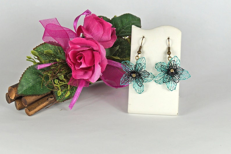 turquoise black flower earrings a great gift for mummy image 0
