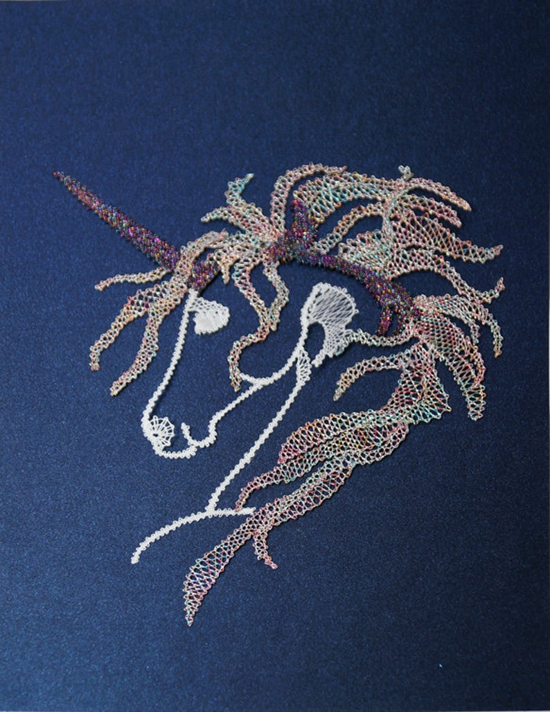 Unicorn mural by hand laced textile art for the wall image 0