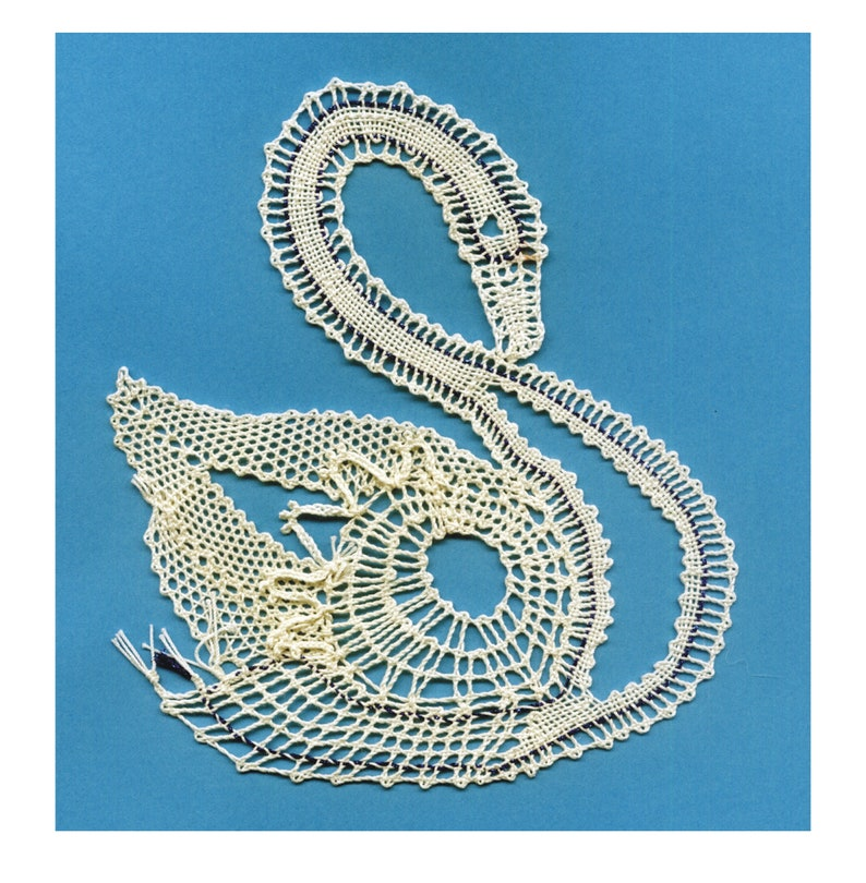 Lace bobbin letter swan for immediate download image 0