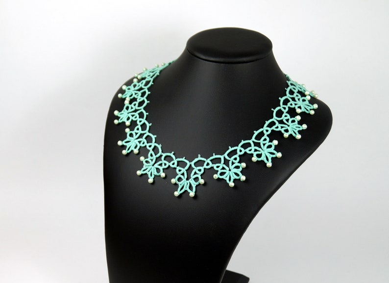 romantic boho necklace made of handmade Victorian lace in the image 0