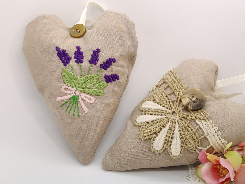 Lavender heart pillow made of cotton fabric with vintage lace image 0