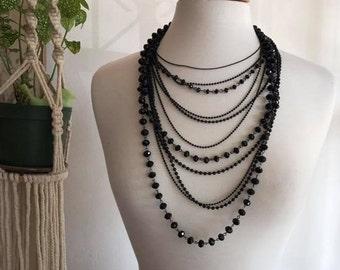 Vintage Chandelier Black beaded necklace