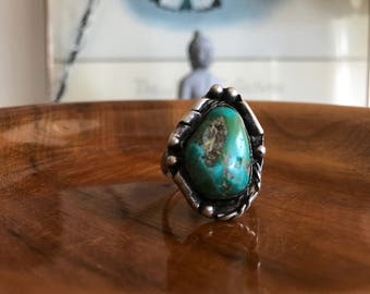 Vintage Men's Sterling Silver Turquoise Native American Ring