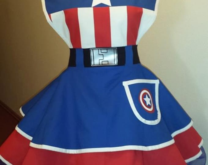 COMMISSION: Capitan usa SuperHero Cosplay Retro Pin Up Apron