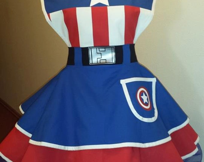 YEAR END SALE: 25-29 inch waist Captain usa SuperHero Cosplay Retro Pin Up Apron