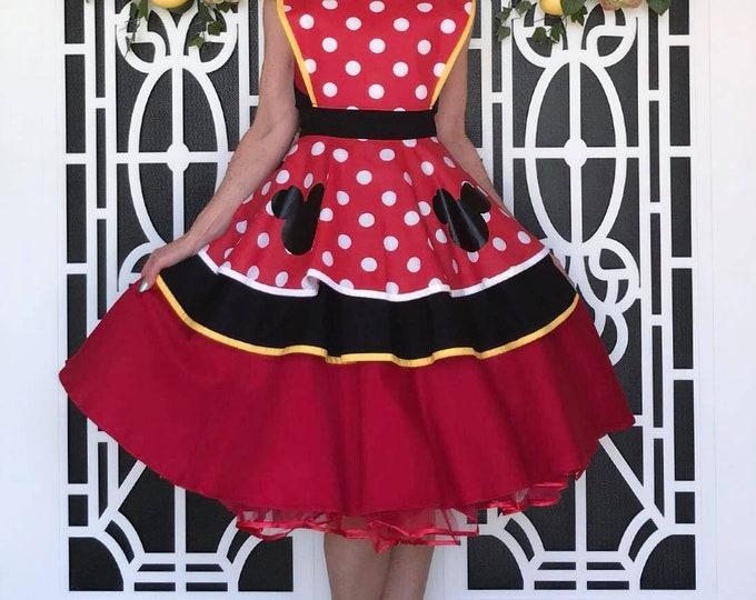 COMMISSION: Girl Mouse Disneybound Cosplay Retro Pin Up Apron