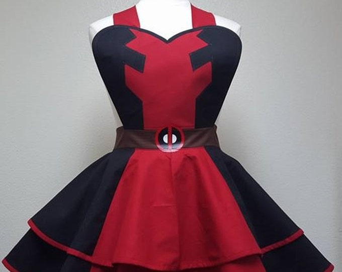 COMMISSION: Deadpool Inspired Fandom Cosplay Retro Pin Up Apron