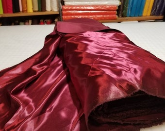 "YEAR END SALE: 50 Yards Burgundy Bridal Satin Fabric Silky Poly 60"" Wide Heavy Wedding Dress Drapery"