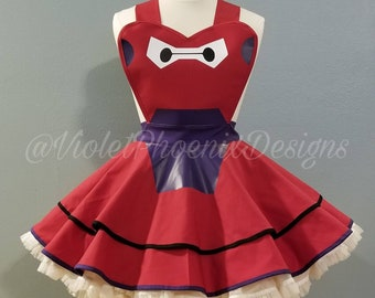 MID YEAR SALE: 30-34 inch  waist  Armored Baymax Retro Pin Up Apron Pinafore