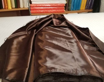 "YEAR END SALE: 13 Yards Chocolate Brown Bridal Satin Fabric Silky Poly 60"" Wide Heavy Wedding Dress Drapery"