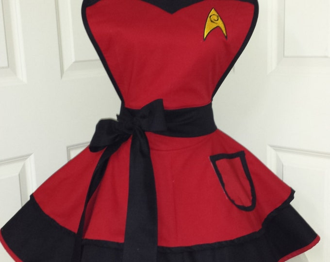COMMISSION: Red Shirt Cosplay Retro Pin Up Apron