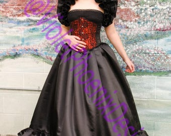 Three Layer Ruffled Gothic Burlesque  Skirt