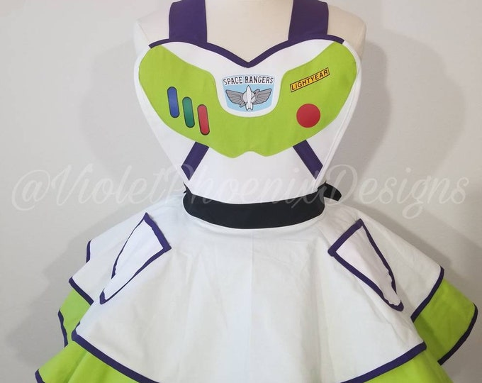 NEW: Space Ranger Cosplay Retro Pin Up Apron Pinafore