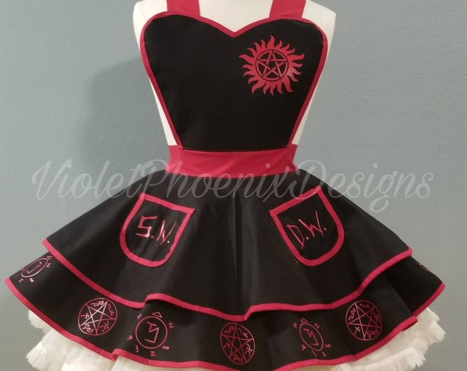 COMMISSION: Supernatural Cosplay Retro Pin Up Apron Pinafore