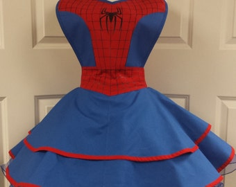 COMMISSION: Spider Themed Superhero Cosplay Retro Pin Up Apron