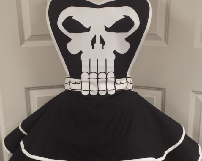 COMMISSION: Skull Shooter Superhero Cosplay Retro Pin Up Apron