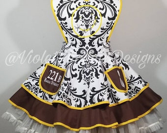 COMMISSION: Sherlock Holmes Inspired Retro Pin Up Apron Pinafore