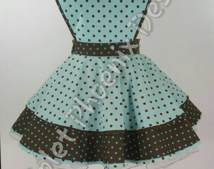 COMMISSION: Polka-dot Teal/Brown Retro Pinup Apron