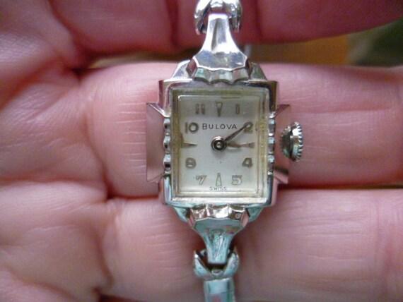 ladies bulova, silver bulova, cocktail watch, 1950