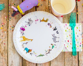 """Animal Parade Party Plates- 9"""" Wide Set of 8"""